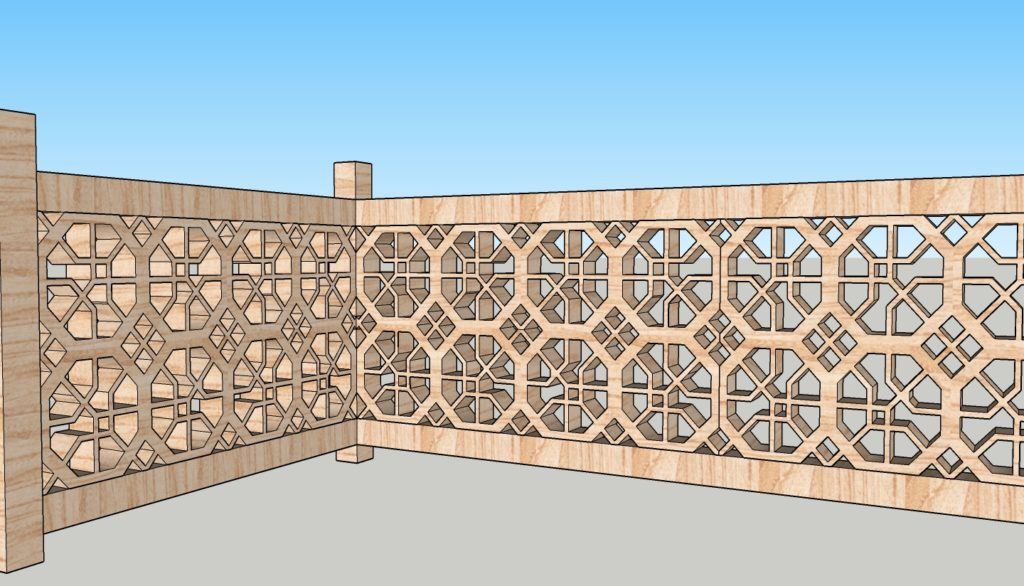 Créations - Terrasse - Garde-corps - Bois - Gamme Taj Mahal Motif Jawab - Green Perspective