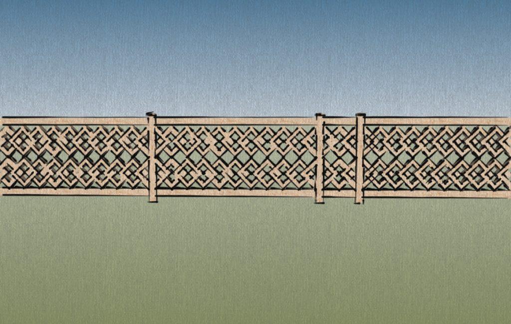 Créations - Terrasse - Garde-corps - Bois - Gamme Taj Mahal Motif Naubat Khana - Green Perspective