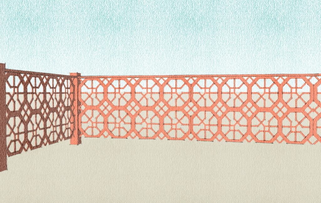 Créations - Terrasse - Garde-corps - Corten - Gamme Taj Mahal Motif Jawab - Green Perspective